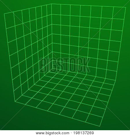 Wireframe Mesh Cube Plane Axis. Three dimensions. Connection Structure. Digital Data Visualization Concept. Vector Illustration.