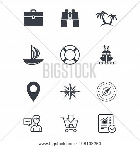 Cruise trip, ship and yacht icons. Travel, cocktails and palm trees signs. Sunglasses, windrose and swimming symbols. Customer service, Shopping cart and Report line signs. Vector