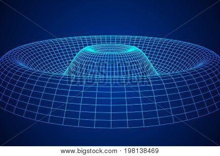 Low poly wave or ripple wireframe mesh background. Scinece and tech vector illustration.