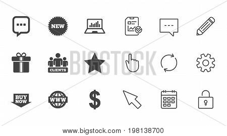 Online shopping, e-commerce and business icons. Gift box, chat message and star signs. Chart, dollar and clients symbols. Chat, Report and Calendar line signs. Service, Pencil and Locker icons