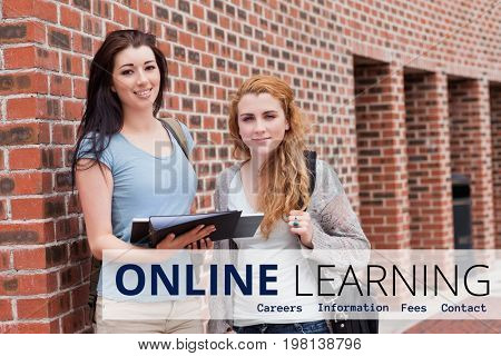 Digital composite of Education  and online learning text and women standing