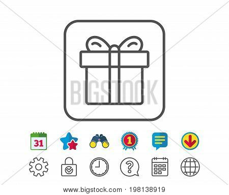 Gift box line icon. Present or Sale sign. Birthday Shopping symbol. Package in Gift Wrap. Calendar, Globe and Chat line signs. Binoculars, Award and Download icons. Editable stroke. Vector