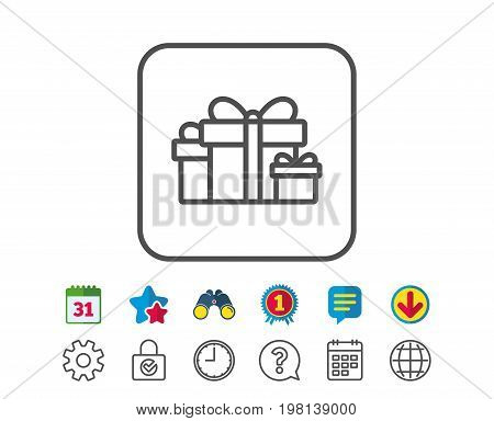 Gift boxes line icon. Present or Sale sign. Birthday Shopping symbol. Package in Gift Wrap. Calendar, Globe and Chat line signs. Binoculars, Award and Download icons. Editable stroke. Vector