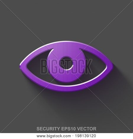 Flat metallic protection 3D icon. Purple Glossy Metal Eye icon with transparent shadow on Gray background. EPS 10, vector illustration.