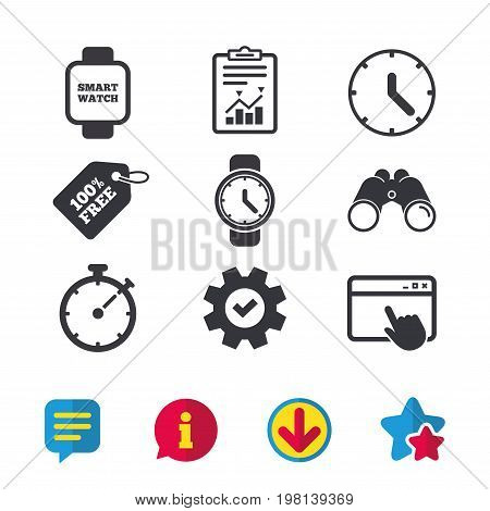 Smart watch icons. Mechanical clock time, Stopwatch timer symbols. Wrist digital watch sign. Browser window, Report and Service signs. Binoculars, Information and Download icons. Stars and Chat