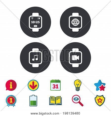 Smart watch icons. Wrist digital time watch symbols. Music, Video, Globe internet and wi-fi signs. Calendar, Information and Download signs. Stars, Award and Book icons. Light bulb, Shield and Search