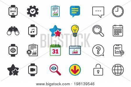 Smart watch icons. Wrist digital time watch symbols. Music, Video, Globe internet and wi-fi signs. Chat, Report and Calendar signs. Stars, Statistics and Download icons. Question, Clock and Globe