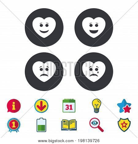Heart smile face icons. Happy, sad, cry signs. Happy smiley chat symbol. Sadness depression and crying signs. Calendar, Information and Download signs. Stars, Award and Book icons. Vector