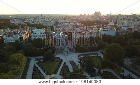 flight drones over the famous Park of the Retiro of Madrid and the Prado Museum