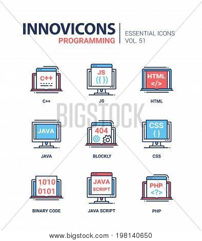 Programming - modern essential vector line design icons set, language, laptop, js, display, html, java, computer, program, error, blockly, css, binary code, script, php, file, document, window