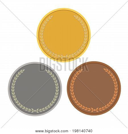 Blank templates for coins or medals with metal texture