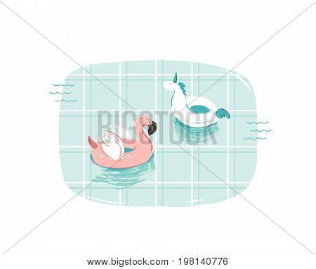 Hand drawn vector abstract cartoon summer time fun illustration with pink flamingo and unicorn buoy ring in blue swimming pool texture isolated on white background.