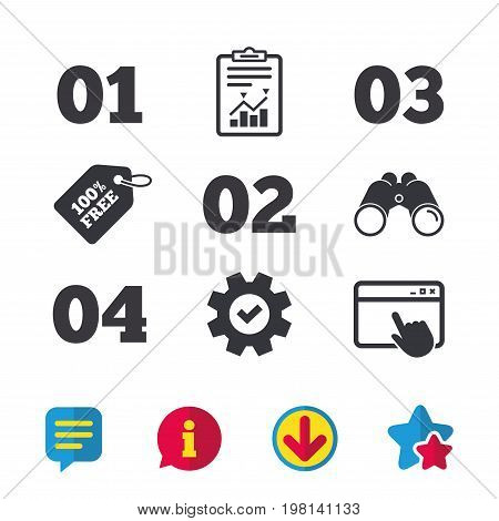 Step one, two, three and four icons. Sequence of options symbols. Loading process signs. Browser window, Report and Service signs. Binoculars, Information and Download icons. Stars and Chat. Vector