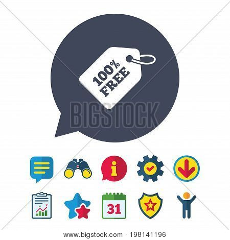 Free tag icon. Freebies banner symbol. Shopping special offer sign. Information, Report and Speech bubble signs. Binoculars, Service and Download, Stars icons. Vector