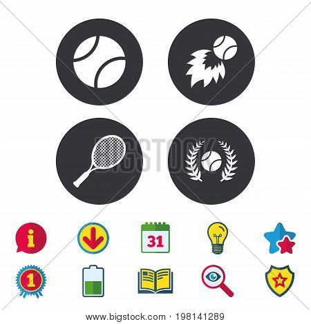 Tennis ball and racket icons. Fast fireball sign. Sport laurel wreath winner award symbol. Calendar, Information and Download signs. Stars, Award and Book icons. Light bulb, Shield and Search. Vector
