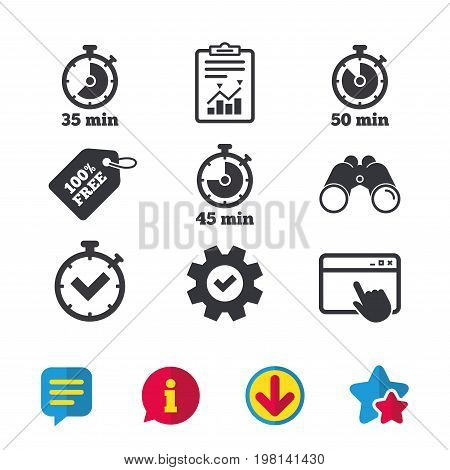 Timer icons. 35, 45 and 50 minutes stopwatch symbols. Check or Tick mark. Browser window, Report and Service signs. Binoculars, Information and Download icons. Stars and Chat. Vector