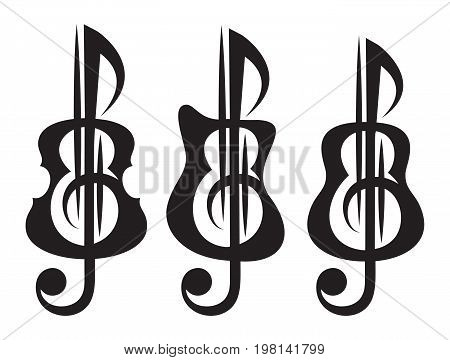 Different kinds of guitar violin treble clef. Vektor set of patterns for logo design.