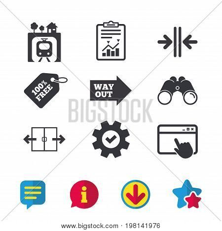 Underground metro train icon. Automatic door symbol. Way out arrow sign. Browser window, Report and Service signs. Binoculars, Information and Download icons. Stars and Chat. Vector