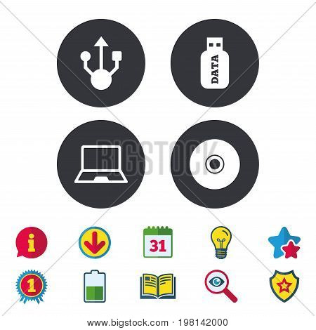 Usb flash drive icons. Notebook or Laptop pc symbols. CD or DVD sign. Compact disc. Calendar, Information and Download signs. Stars, Award and Book icons. Light bulb, Shield and Search. Vector