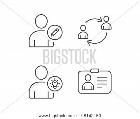 Users, Edit data and ID card line icons. Teamwork and Businessman with idea symbols. Quality design elements. Editable stroke. Vector
