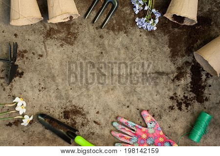 Garden Inventory Tools Peat Pots And Flowers On Old Wooden Gray Board With Ground. Copyspace And Top View.