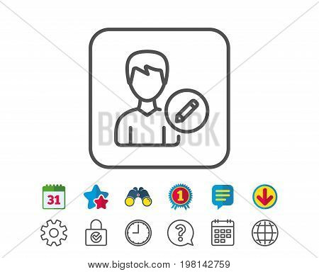 Edit User line icon. Profile Avatar with pencil sign. Male Person silhouette symbol. Calendar, Globe and Chat line signs. Binoculars, Award and Download icons. Editable stroke. Vector