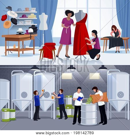 Craftspeople 2 flat banners composition with craft brewers beer production and tailors at work isolated vector illustration