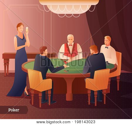 Casino and poker with game and success symbols flat gradient vector illustration