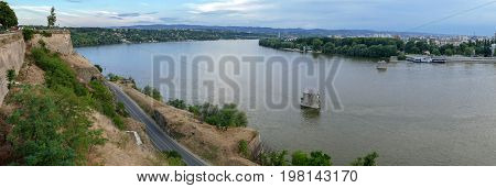 Panoramic view of Petrovaradin Fortress and Danube river from Rainbow bridge height in Novi Sad Serbia.
