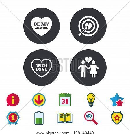 Valentine day love icons. Target aim with heart and arrow symbol. Couple lovers sign. Calendar, Information and Download signs. Stars, Award and Book icons. Light bulb, Shield and Search. Vector