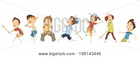 Set of funny cartoon children characters in different poses playing baseball flat isolated vector illustration