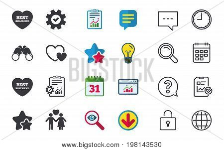 Valentine day love icons. Best girlfriend and boyfriend symbol. Couple lovers sign. Chat, Report and Calendar signs. Stars, Statistics and Download icons. Question, Clock and Globe. Vector