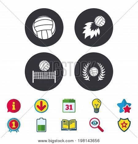 Volleyball and net icons. Winner award laurel wreath symbols. Fireball and beach sport symbol. Calendar, Information and Download signs. Stars, Award and Book icons. Light bulb, Shield and Search