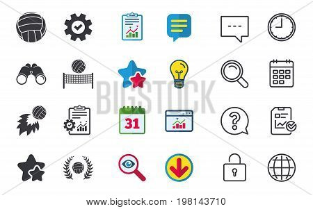 Volleyball and net icons. Winner award laurel wreath symbols. Fireball and beach sport symbol. Chat, Report and Calendar signs. Stars, Statistics and Download icons. Question, Clock and Globe. Vector