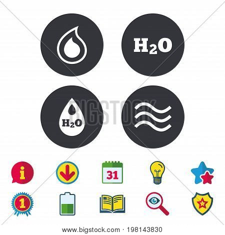 H2O Water drop icons. Tear or Oil drop symbols. Calendar, Information and Download signs. Stars, Award and Book icons. Light bulb, Shield and Search. Vector