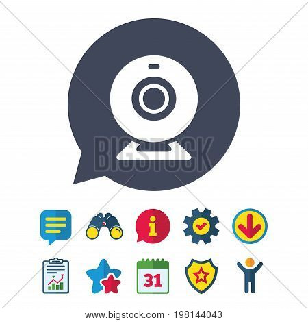Webcam sign icon. Web video chat symbol. Camera chat. Information, Report and Speech bubble signs. Binoculars, Service and Download, Stars icons. Vector