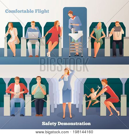 People in airplane horizontal banners with sitting passengers stewardess with drinks and safety demonstration isolated vector illustration