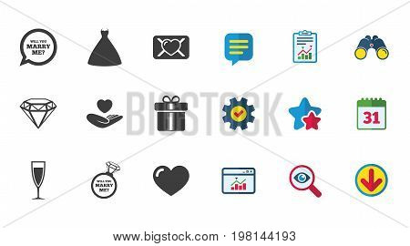 Wedding, engagement icons. Love oath letter, gift box and brilliant signs. Dress, heart and champagne glass symbols. Calendar, Report and Download signs. Stars, Service and Search icons. Vector