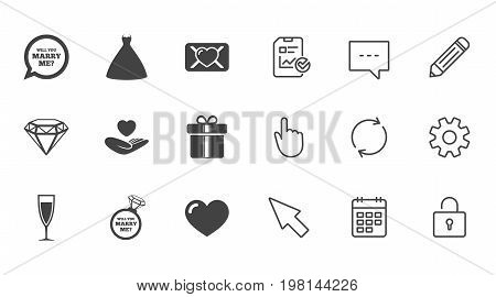 Wedding, engagement icons. Love oath letter, gift box and brilliant signs. Dress, heart and champagne glass symbols. Chat, Report and Calendar line signs. Service, Pencil and Locker icons. Vector