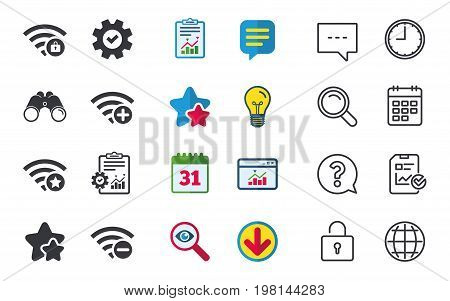 Wifi Wireless Network icons. Wi-fi zone add or remove symbols. Favorite star sign. Password protected Wi-fi. Chat, Report and Calendar signs. Stars, Statistics and Download icons. Vector