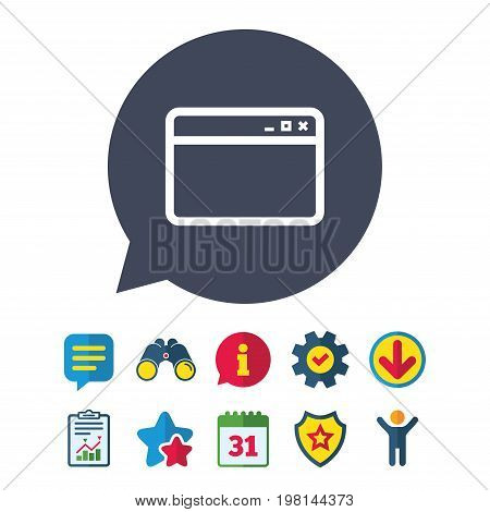 Browser window icon. Internet page symbol. Website empty template sign. Information, Report and Speech bubble signs. Binoculars, Service and Download, Stars icons. Vector