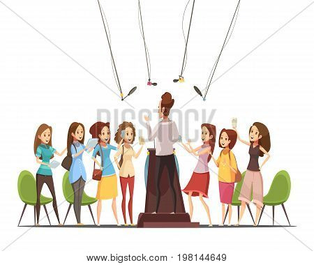 Teenage girls with smartphones tablets attending event of interest and recording the speaker retro cartoon vector illustration