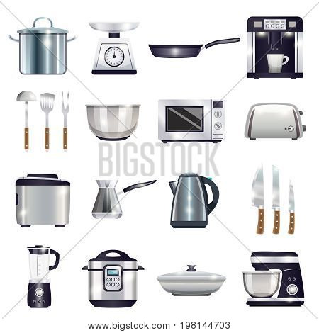 Kitchen accessories set with coffee machine, toaster, blender, microwave, food processor, kettle, knives isolated vector illustration