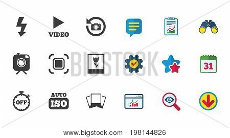 Photo, video icons. Camera, photos and frame signs. Flash, timer and macro symbols. Calendar, Report and Download signs. Stars, Service and Search icons. Statistics, Binoculars and Chat. Vector