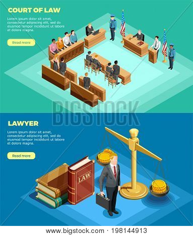 Set of two horizontal law banners with isometric compositions of court proceedings with read more button vector illustration