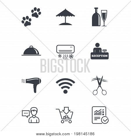Hotel, apartment services icons. Wifi internet sign. Pets allowed, alcohol and air conditioning symbols. Customer service, Shopping cart and Report line signs. Online shopping and Statistics. Vector