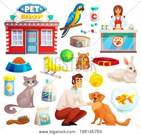 Pet shop decorative icons set with parrot rabbit dog and cat icons and goods for pets cartoon isolated vector illustration