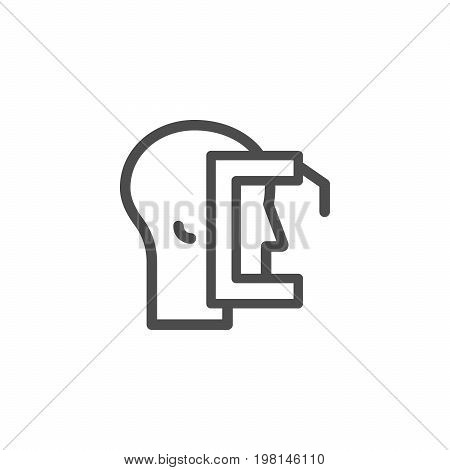 Ophthalmological exam line icon isolated on white. Vector illustration