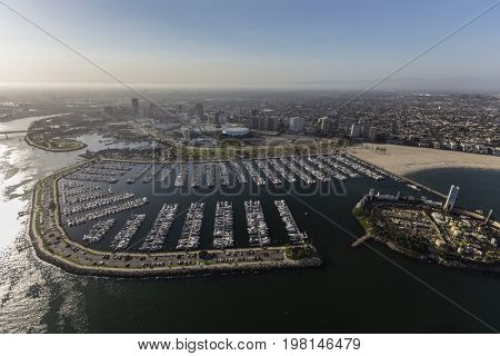 Aerial view of downtown, marina and coastline in Long Beach, California.