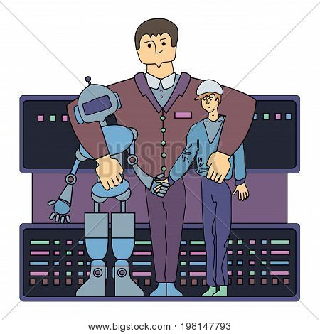 Specialist on relationships between human and robot. One of the jobs of the future. Vector illustration, isolated on white background.